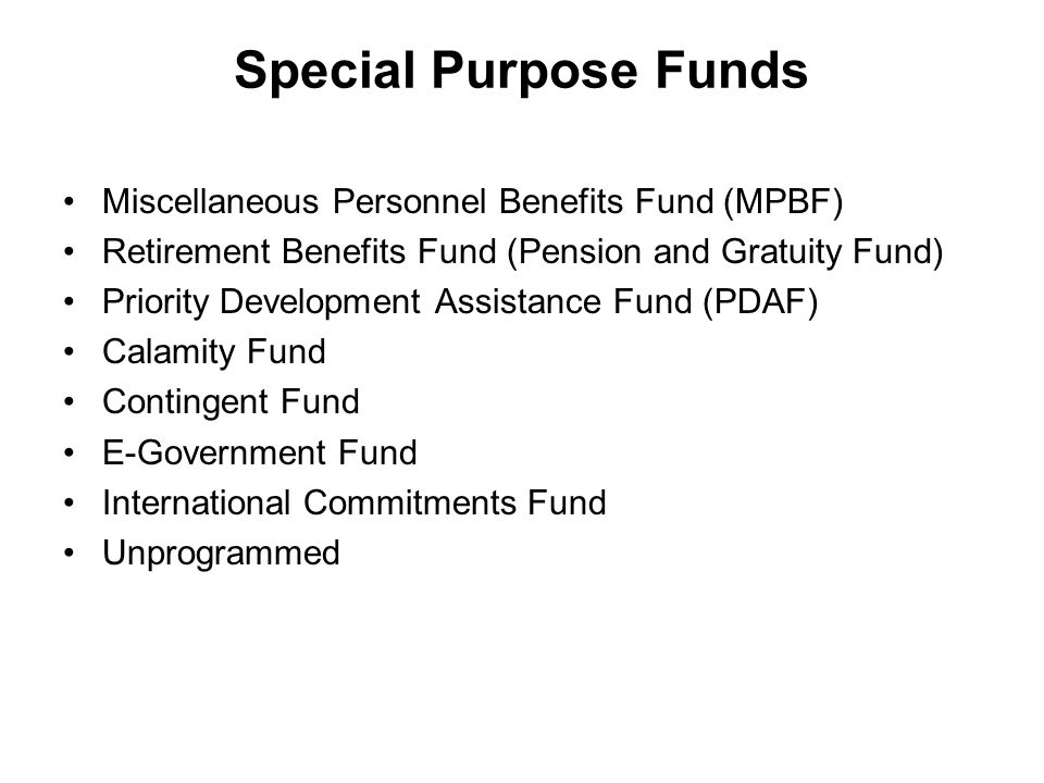 Special Purpose Funds Miscellaneous Personnel Benefits Fund (MPBF)