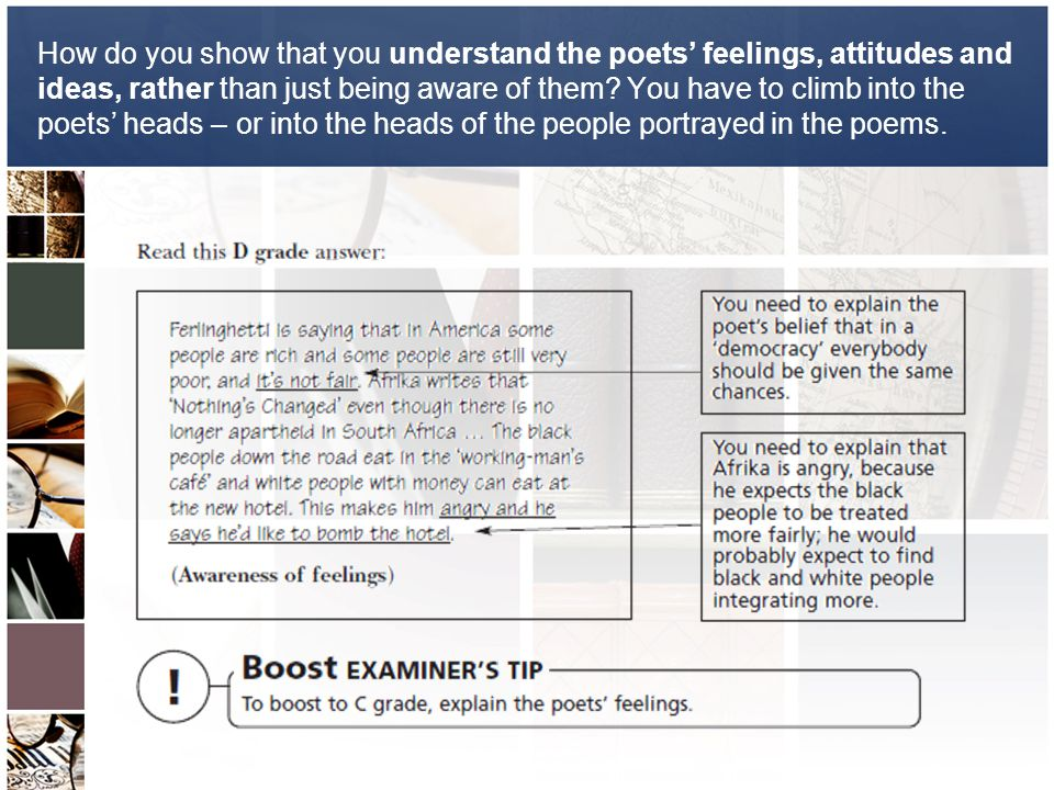 How do you show that you understand the poets' feelings, attitudes and ideas, rather than just being aware of them.