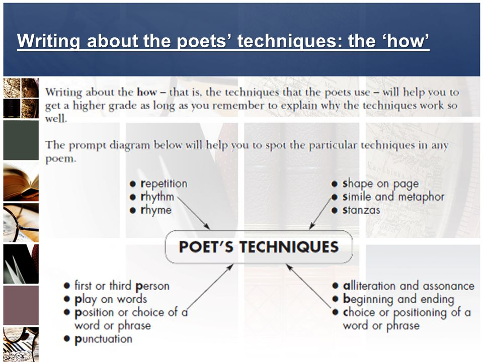Writing about the poets' techniques: the 'how'