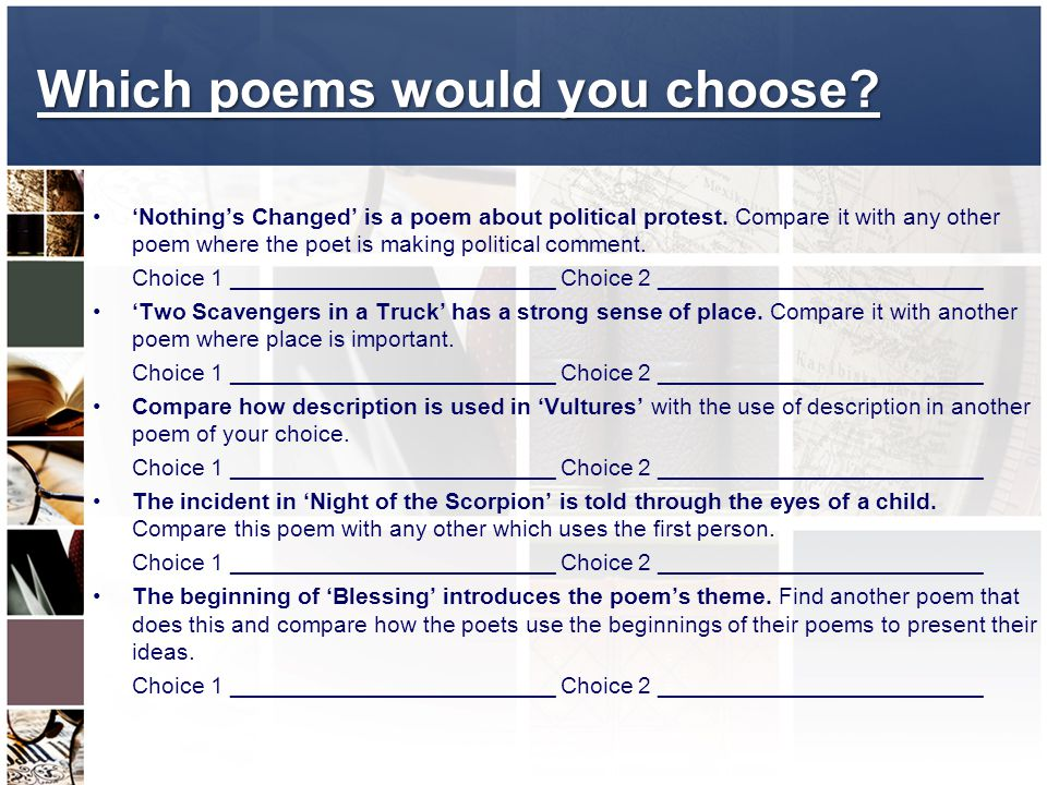 Which poems would you choose