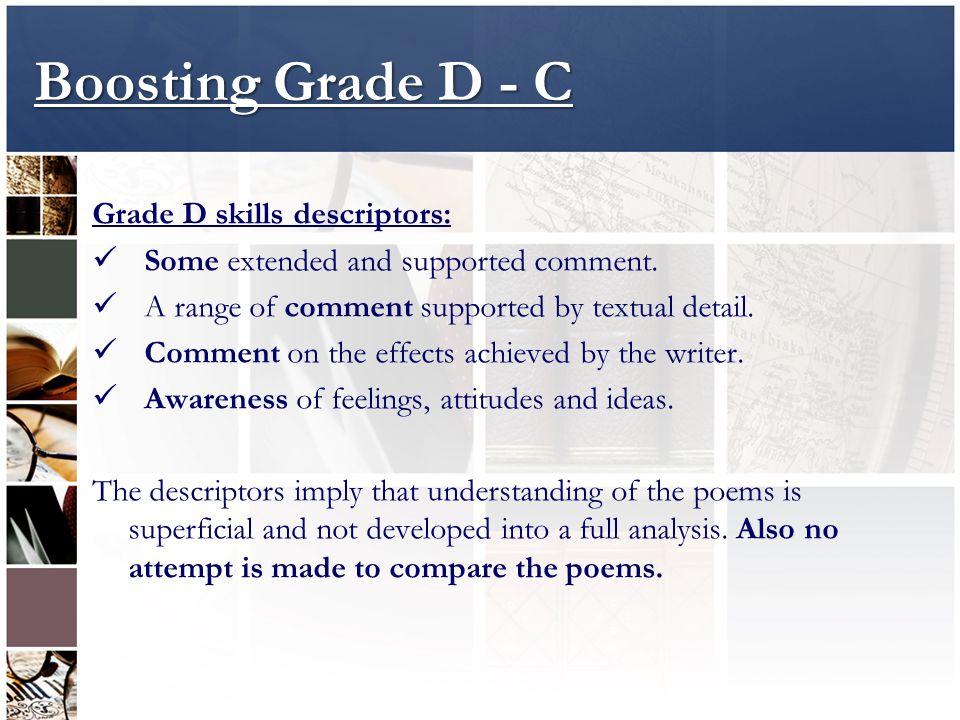 Boosting Grade D - C Grade D skills descriptors: