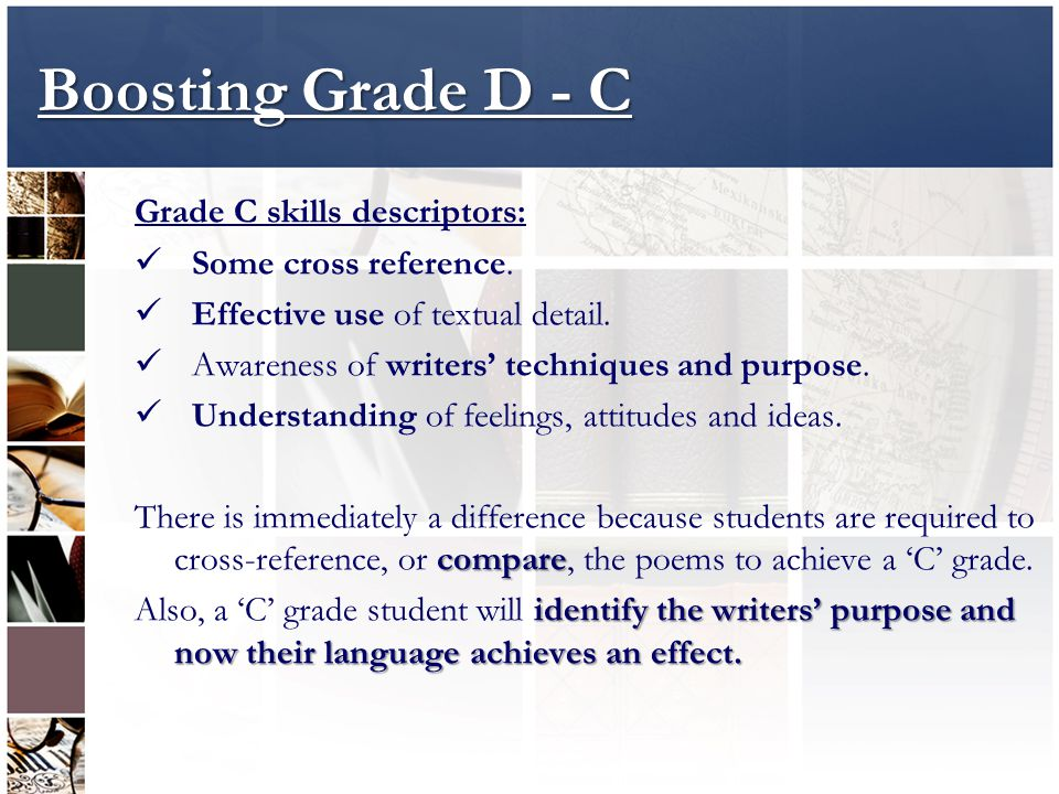 Boosting Grade D - C Grade C skills descriptors: Some cross reference.