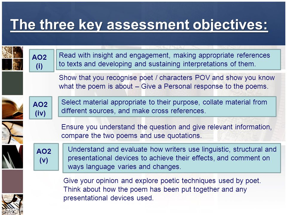The three key assessment objectives: