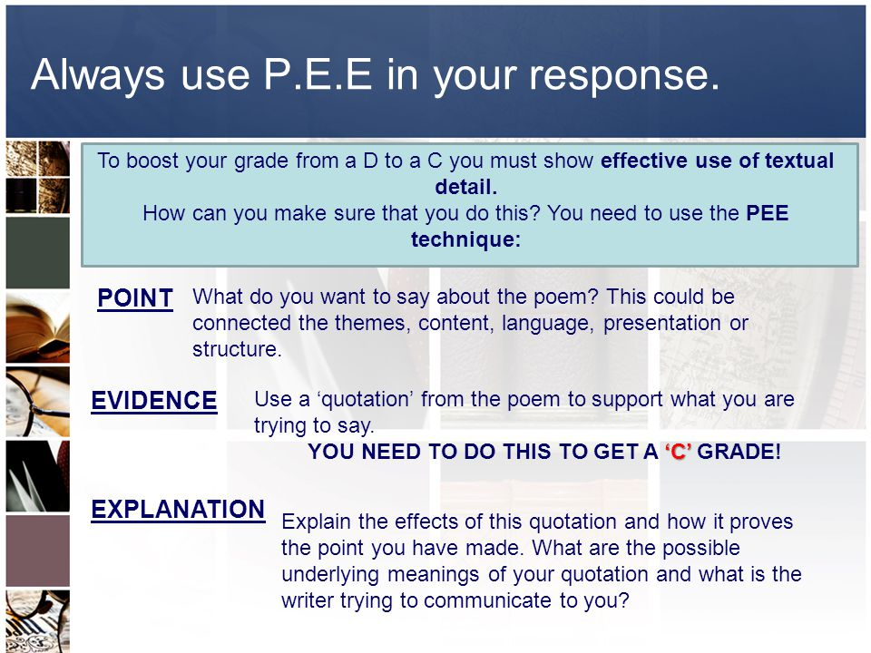 Always use P.E.E in your response.