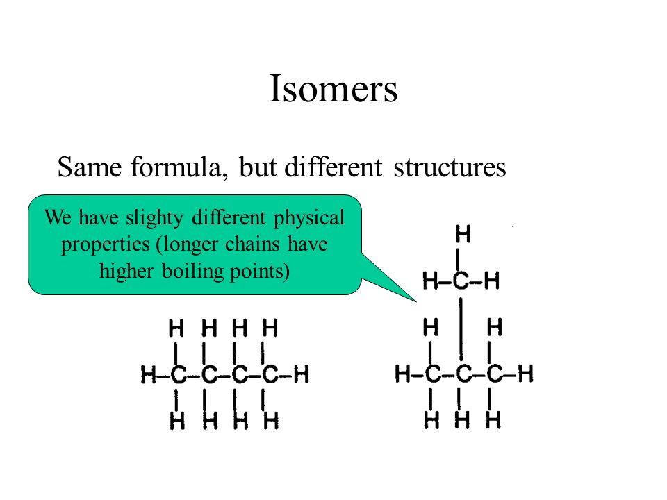 Isomers Same formula, but different structures