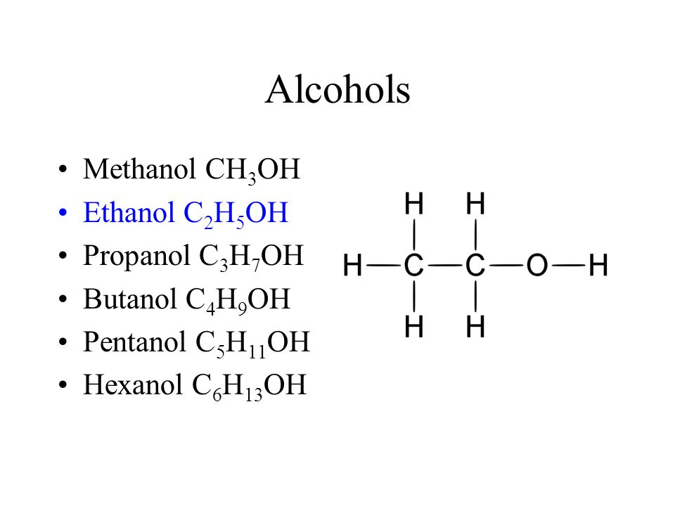 Alcohols Methanol CH3OH Ethanol C2H5OH Propanol C3H7OH Butanol C4H9OH