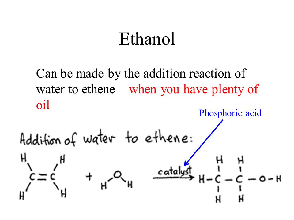 Ethanol Can be made by the addition reaction of water to ethene – when you have plenty of oil.