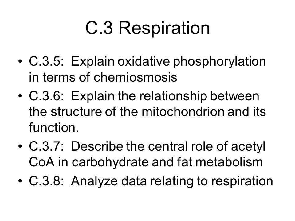 C.3 Respiration C.3.5: Explain oxidative phosphorylation in terms of chemiosmosis.
