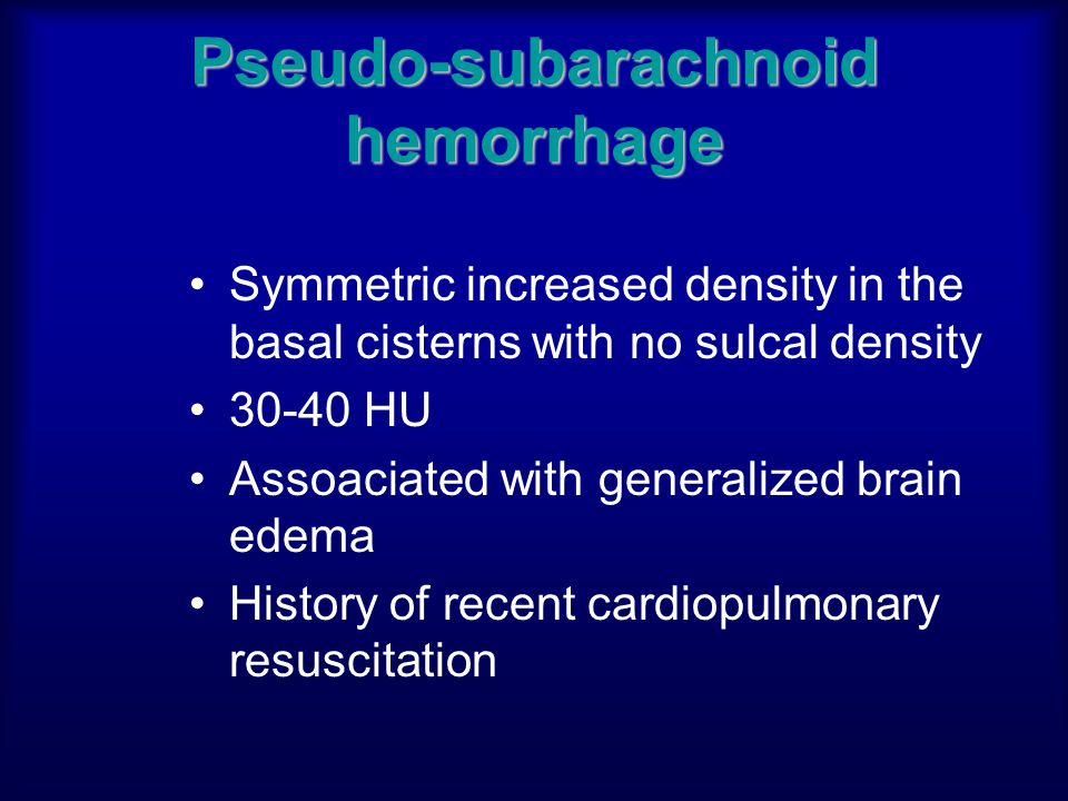 Pseudo-subarachnoid hemorrhage