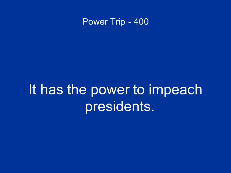 It has the power to impeach presidents.