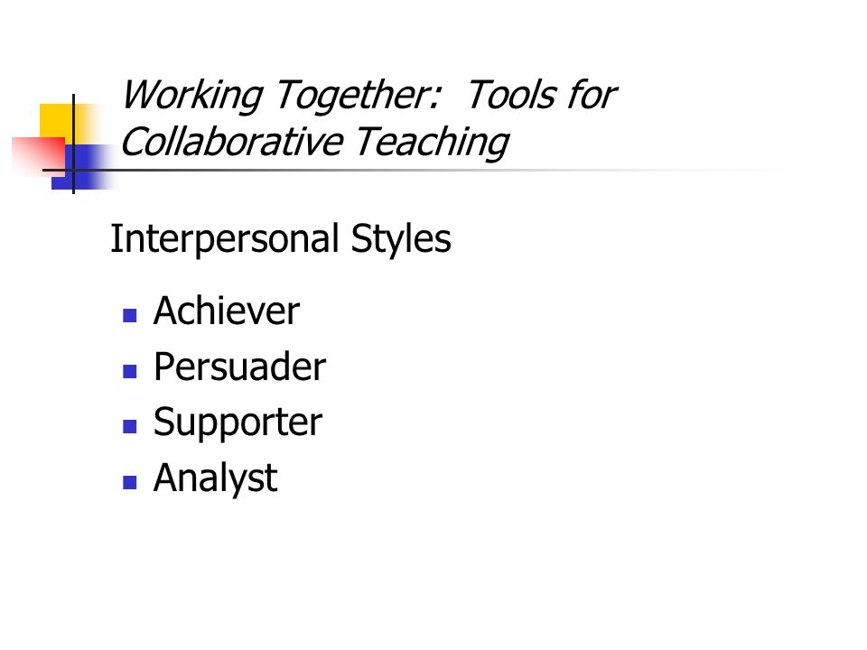 Working Together: Tools for Collaborative Teaching