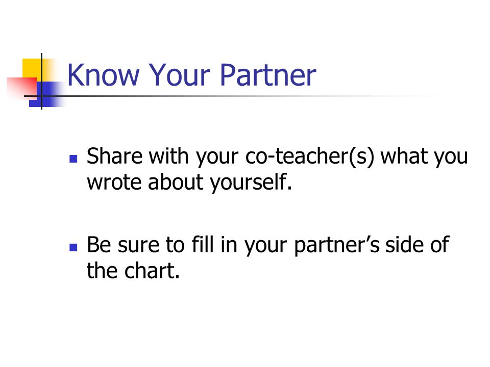 Know Your Partner Share with your co-teacher(s) what you wrote about yourself. Be sure to fill in your partner's side of the chart.
