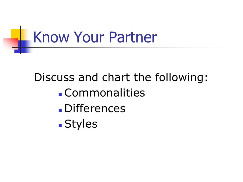 Know Your Partner Discuss and chart the following: Commonalities
