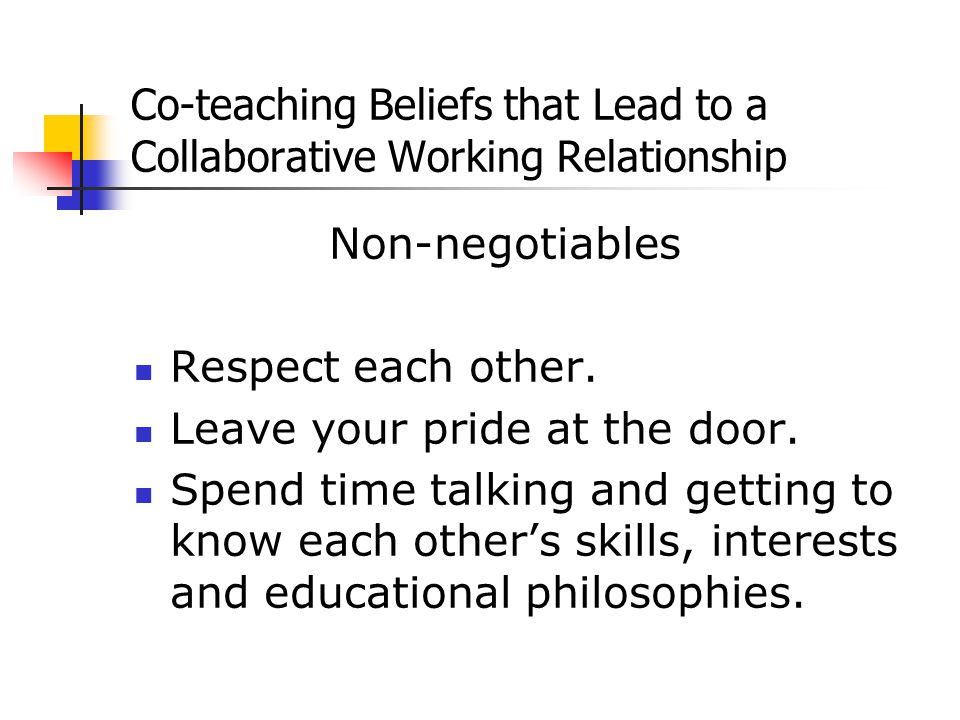 Co-teaching Beliefs that Lead to a Collaborative Working Relationship