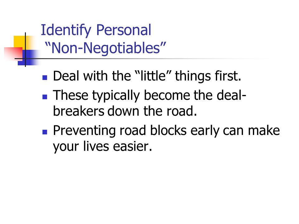 Identify Personal Non-Negotiables