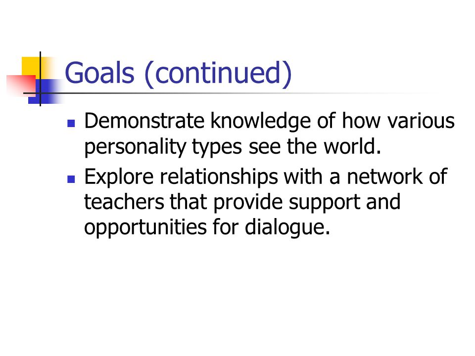 Goals (continued) Demonstrate knowledge of how various personality types see the world.