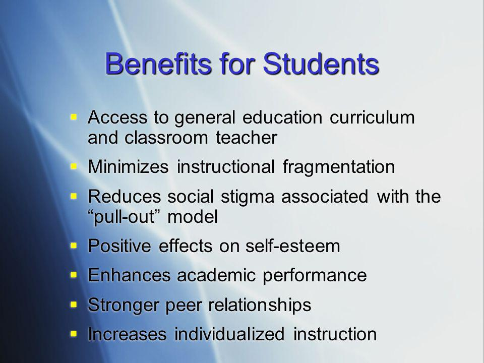Benefits for Students Access to general education curriculum and classroom teacher. Minimizes instructional fragmentation.