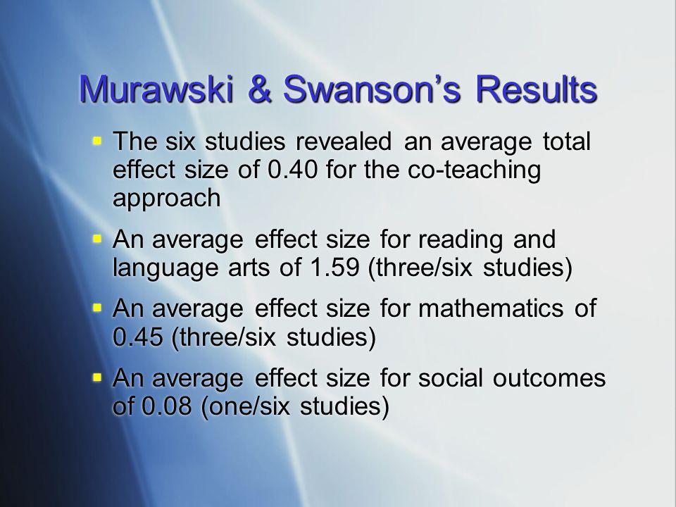 Murawski & Swanson's Results