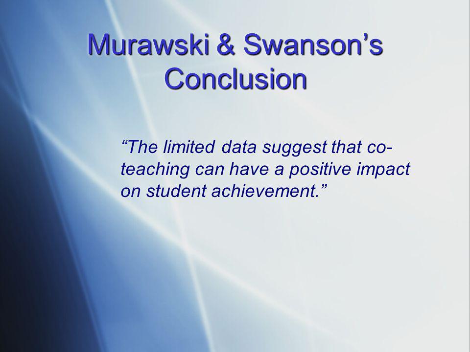 Murawski & Swanson's Conclusion
