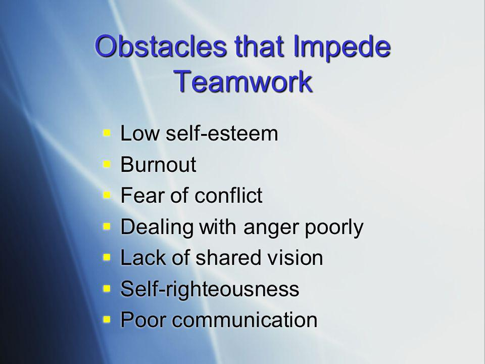 Obstacles that Impede Teamwork