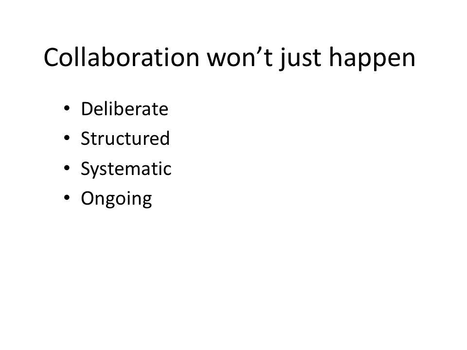 Collaboration won't just happen
