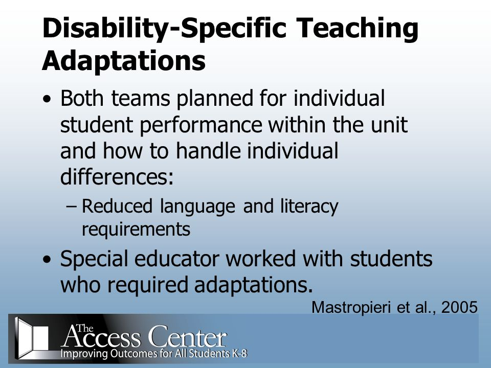 Disability-Specific Teaching Adaptations