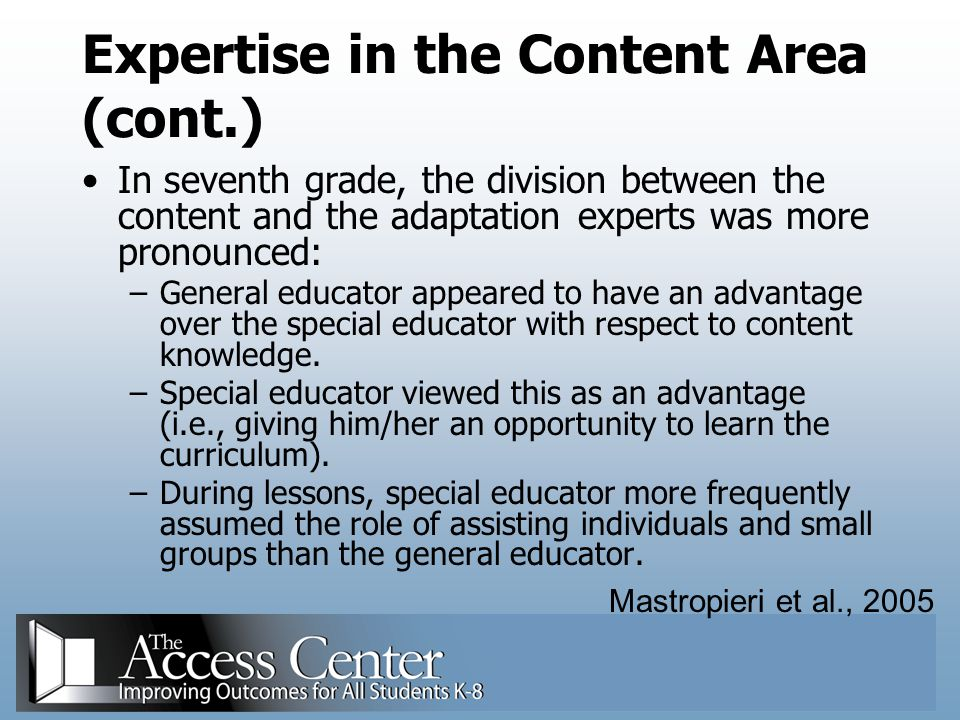 Expertise in the Content Area (cont.)