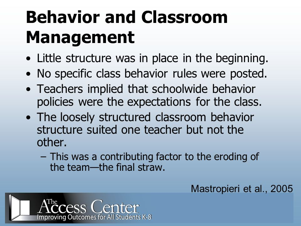 Behavior and Classroom Management