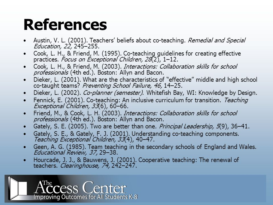 References Austin, V. L. (2001). Teachers' beliefs about co-teaching. Remedial and Special Education, 22, 245–255.