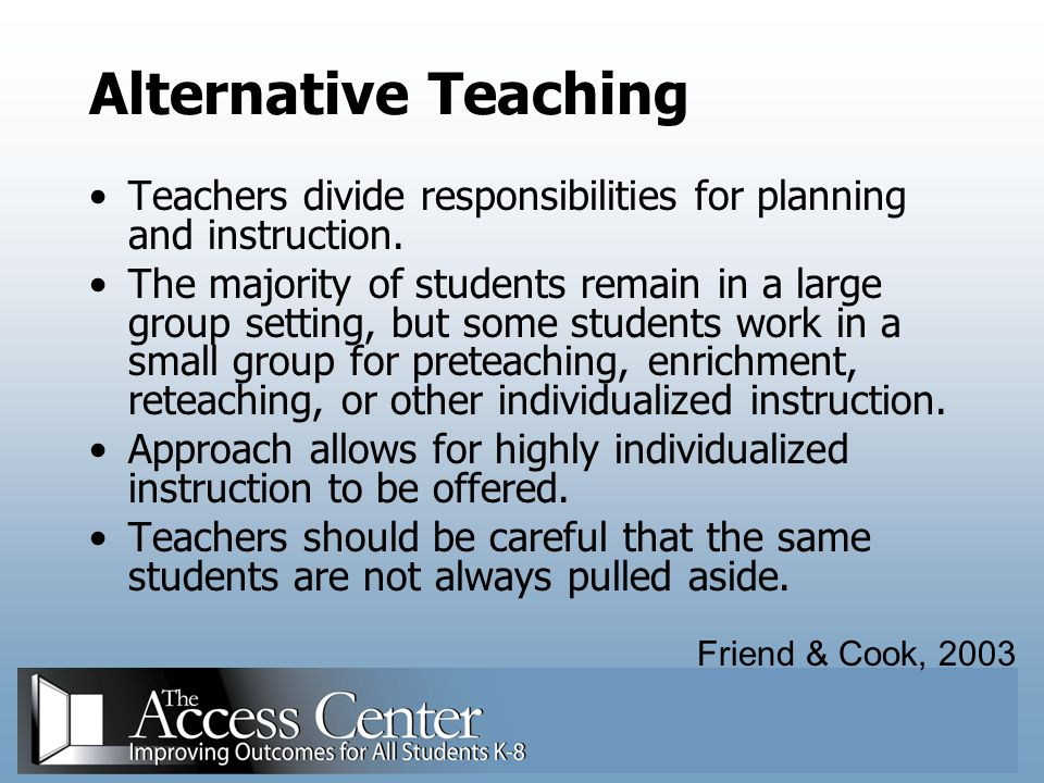 Alternative Teaching Teachers divide responsibilities for planning and instruction.