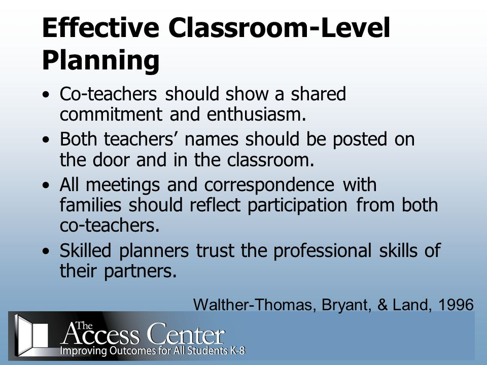 Effective Classroom-Level Planning