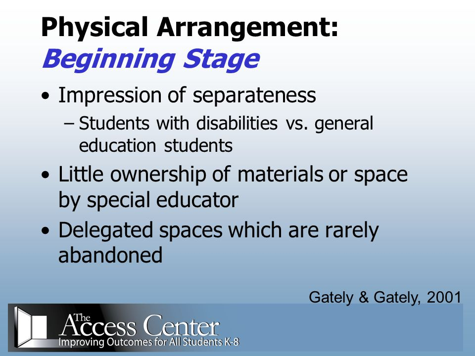 Physical Arrangement: Beginning Stage