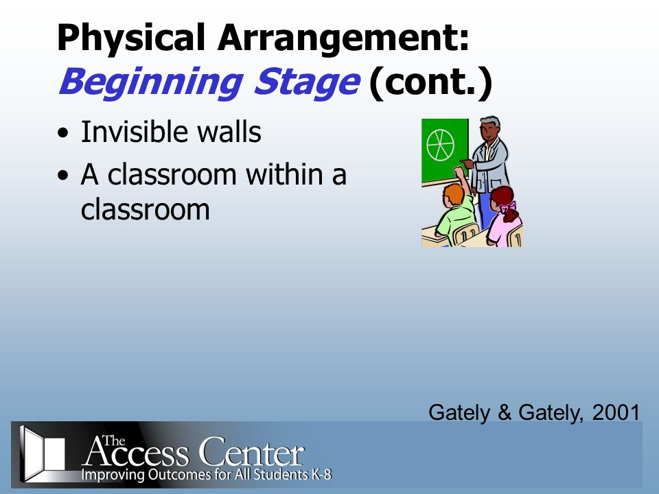 Physical Arrangement: Beginning Stage (cont.)