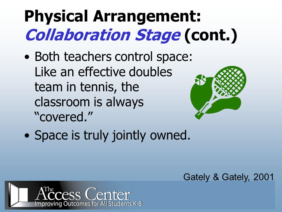 Physical Arrangement: Collaboration Stage (cont.)