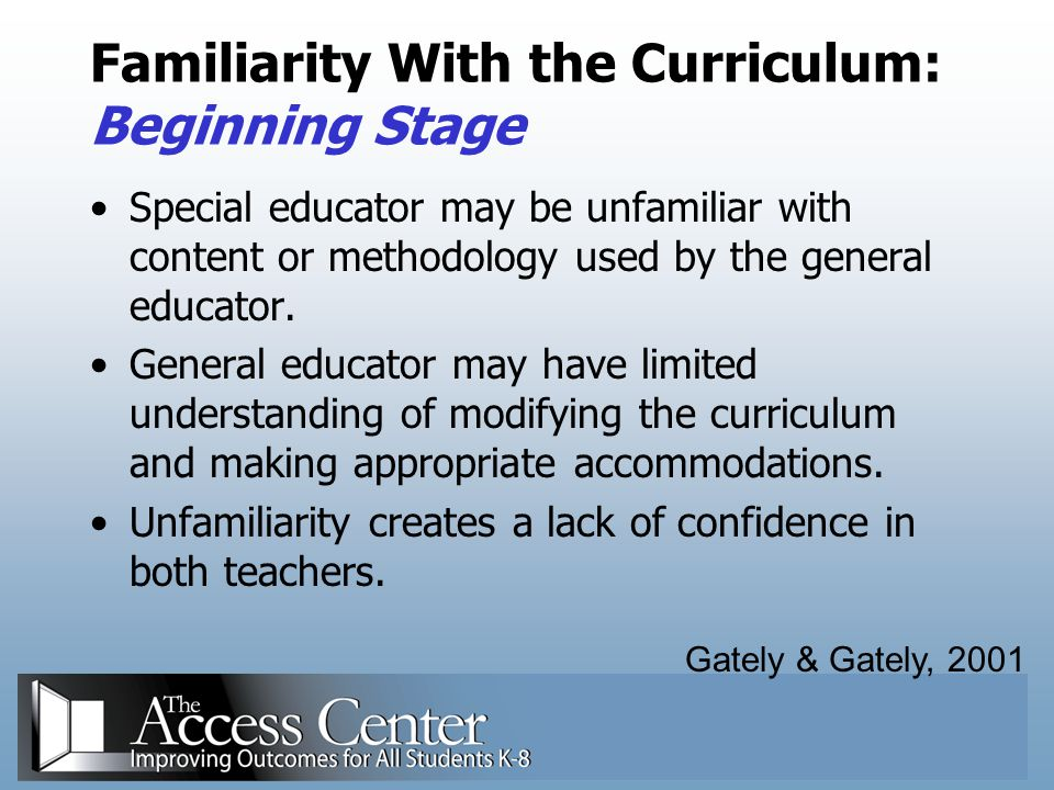 Familiarity With the Curriculum: Beginning Stage