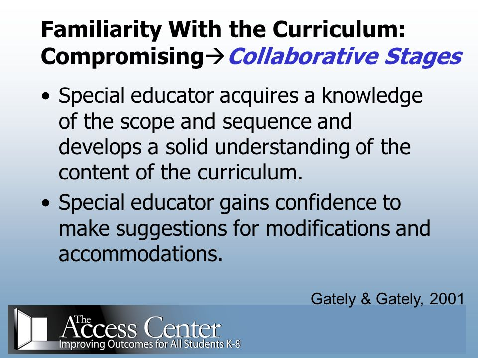 Familiarity With the Curriculum: CompromisingCollaborative Stages