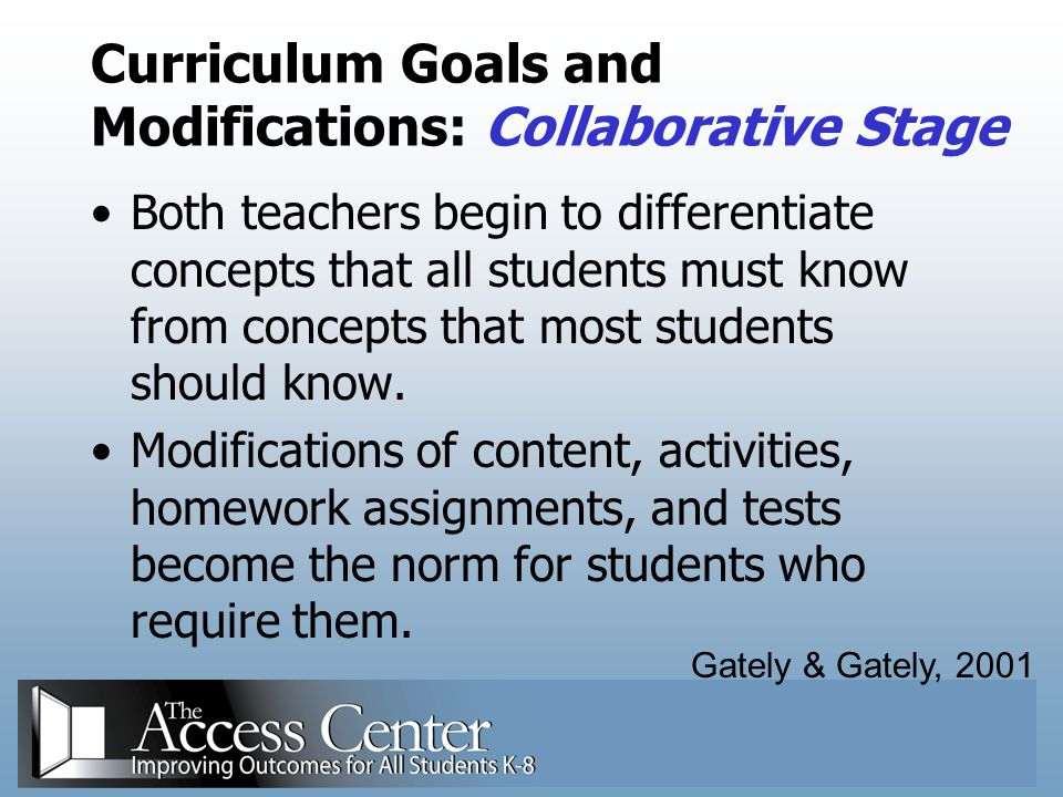 Curriculum Goals and Modifications: Collaborative Stage