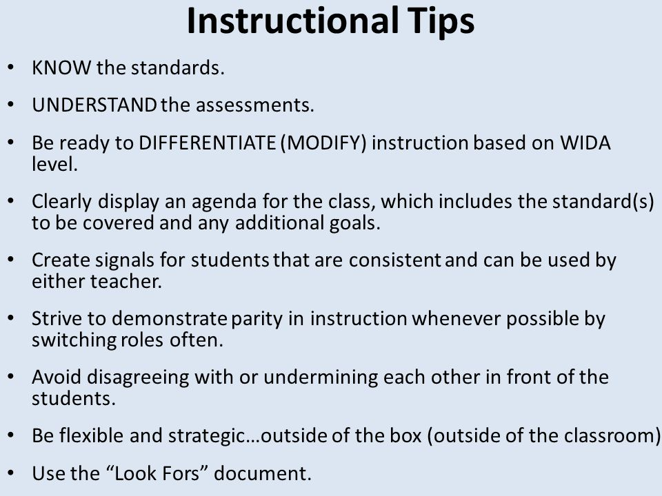 Instructional Tips KNOW the standards. UNDERSTAND the assessments.