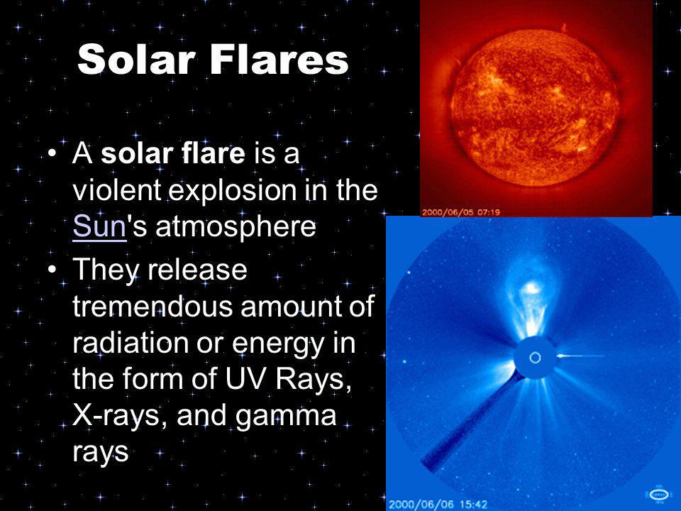Solar Flares A solar flare is a violent explosion in the Sun s atmosphere.