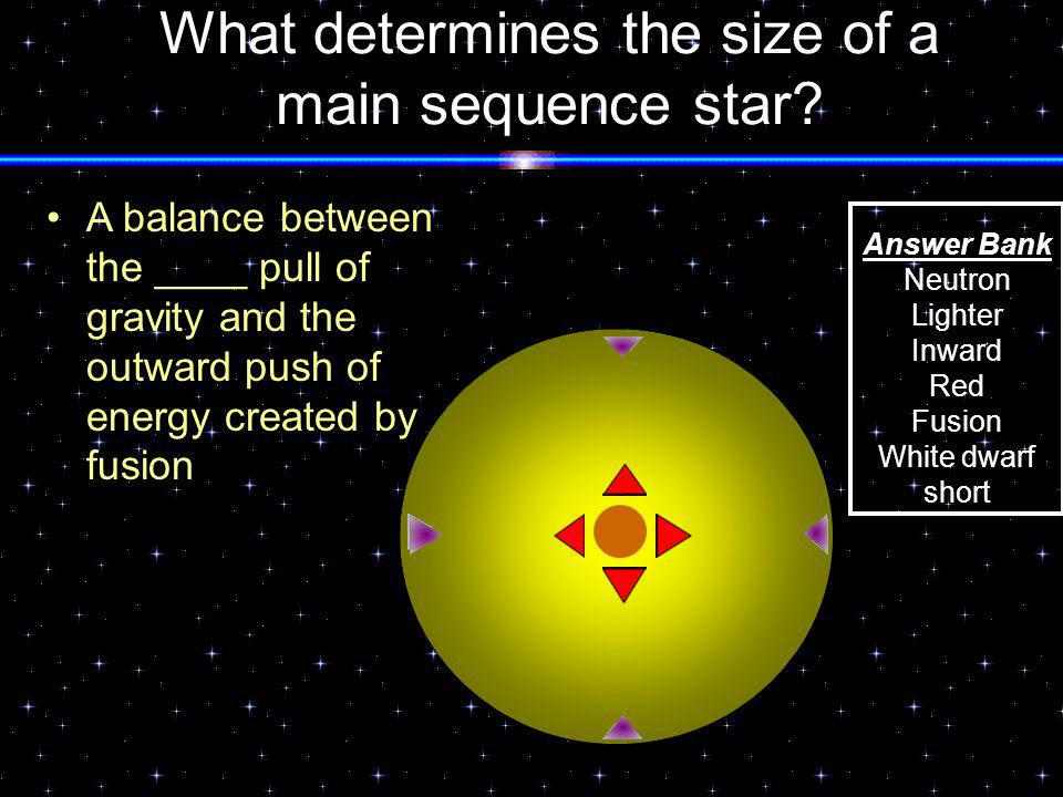 What determines the size of a main sequence star