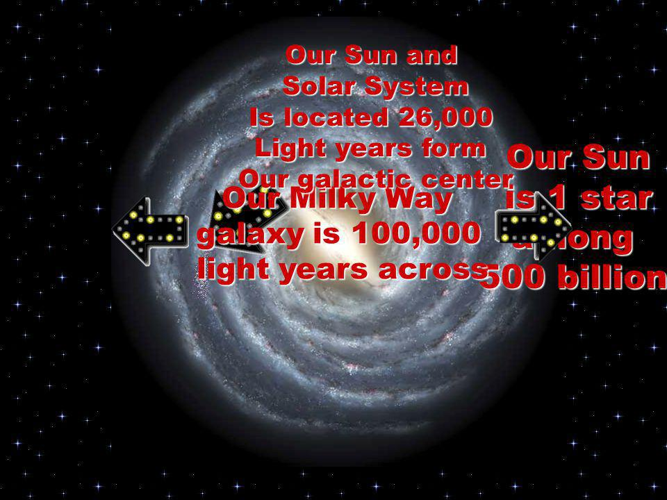 Our Sun is 1 star among 500 billion Our Milky Way galaxy is 100,000