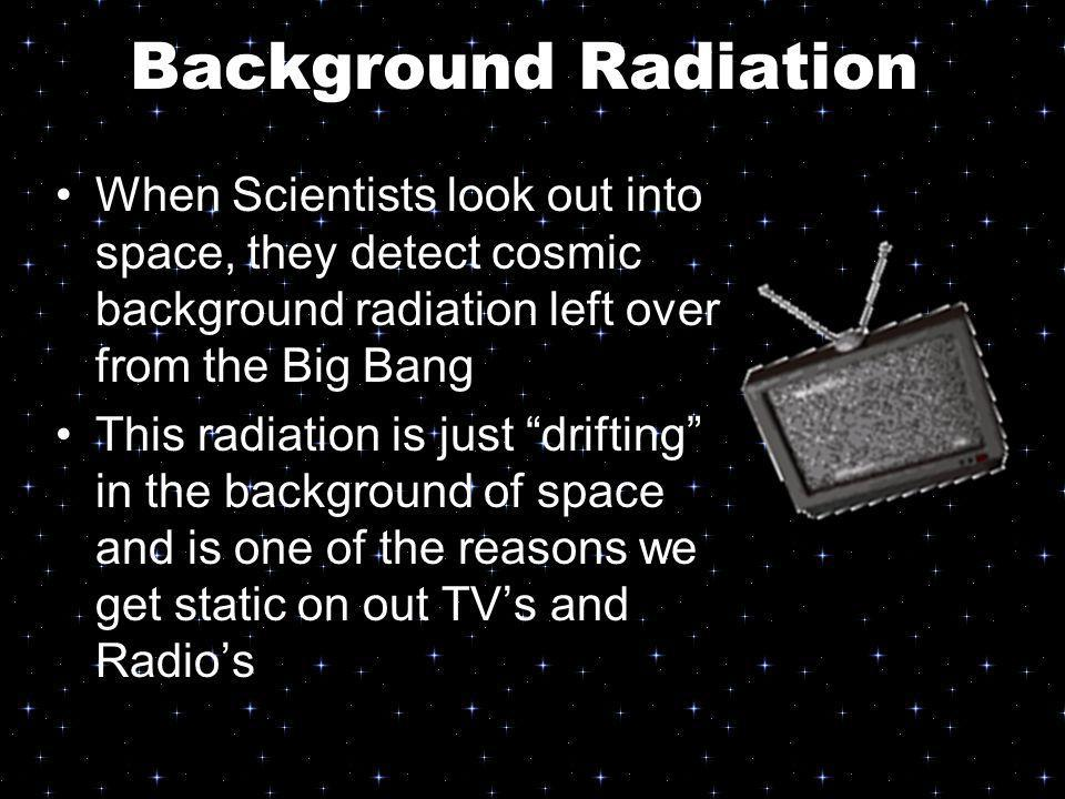 Background Radiation When Scientists look out into space, they detect cosmic background radiation left over from the Big Bang.