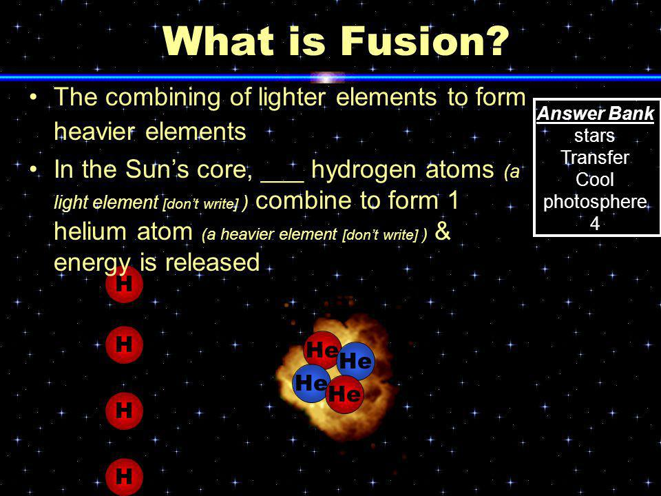 What is Fusion The combining of lighter elements to form heavier elements.