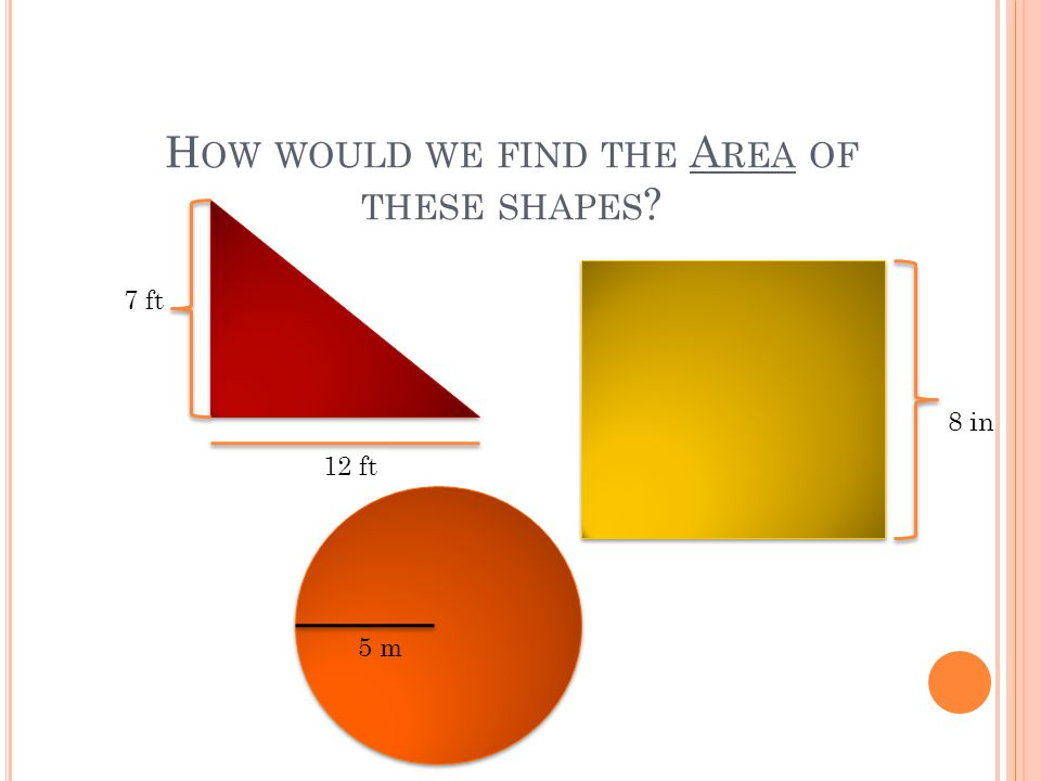 How would we find the Area of these shapes