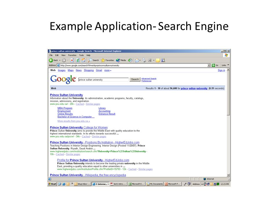 Example Application- Search Engine
