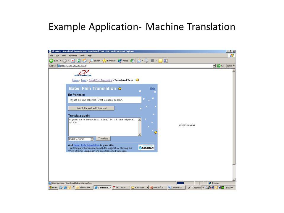 Example Application- Machine Translation