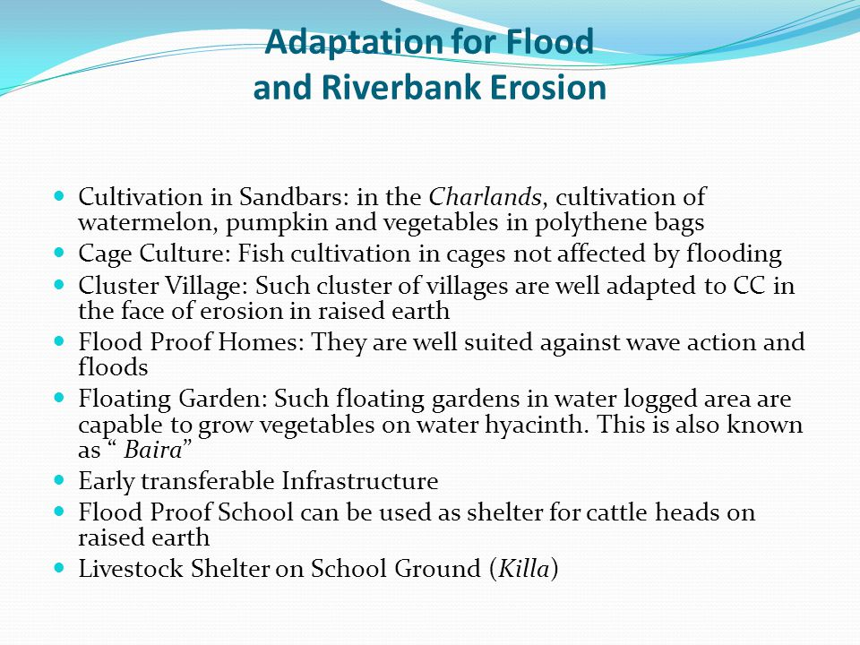 Adaptation for Flood and Riverbank Erosion