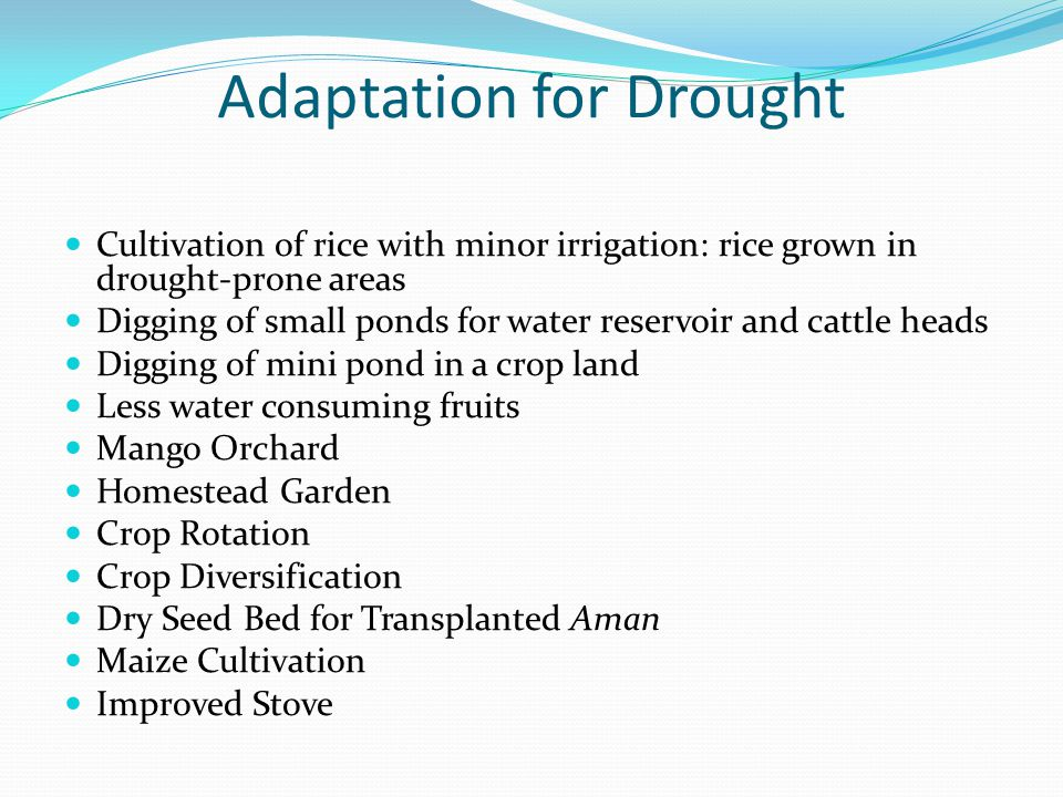 Adaptation for Drought