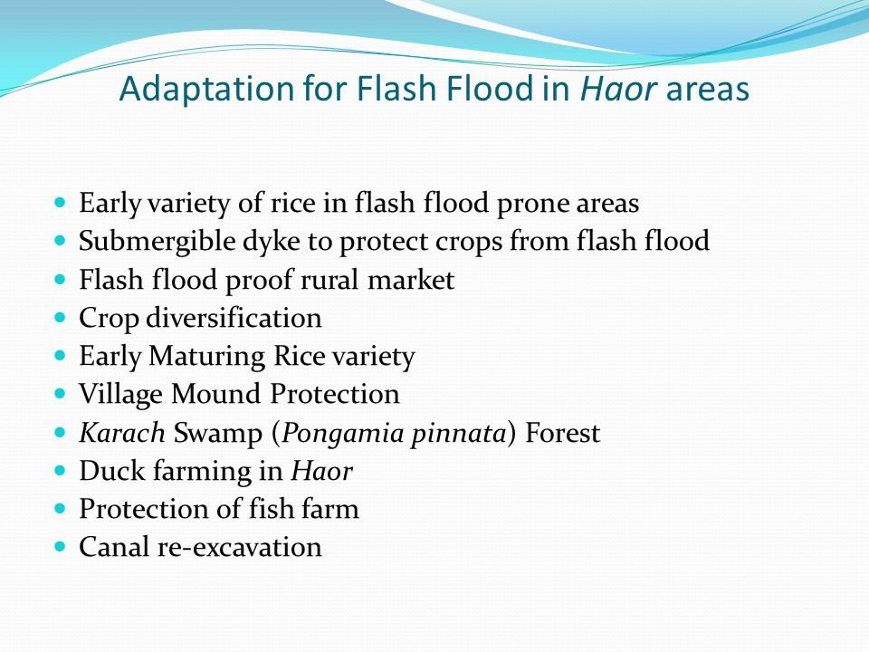 Adaptation for Flash Flood in Haor areas