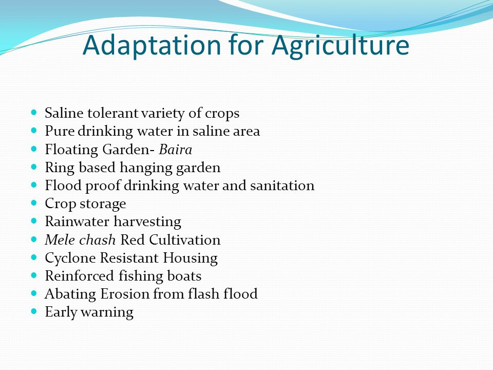 Adaptation for Agriculture